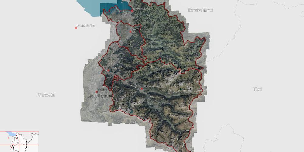 Landkarte, Luftbild Bundesland Vorarlberg